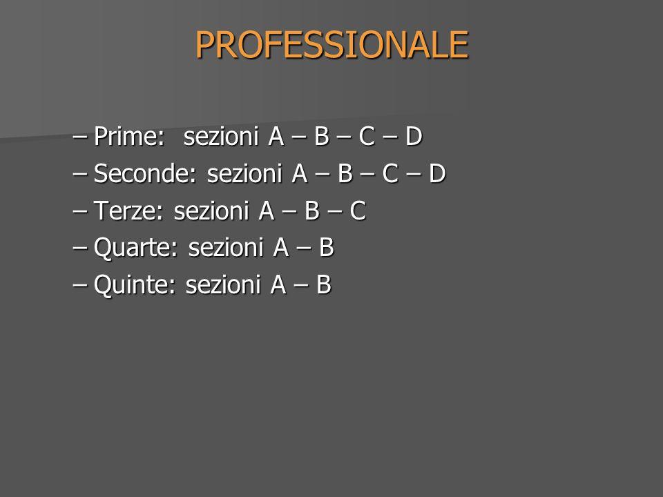 PROFESSIONALE –Prime: sezioni A – B – C – D –Seconde: sezioni A – B – C – D –Terze: sezioni A – B – C –Quarte: sezioni A – B –Quinte: sezioni A – B