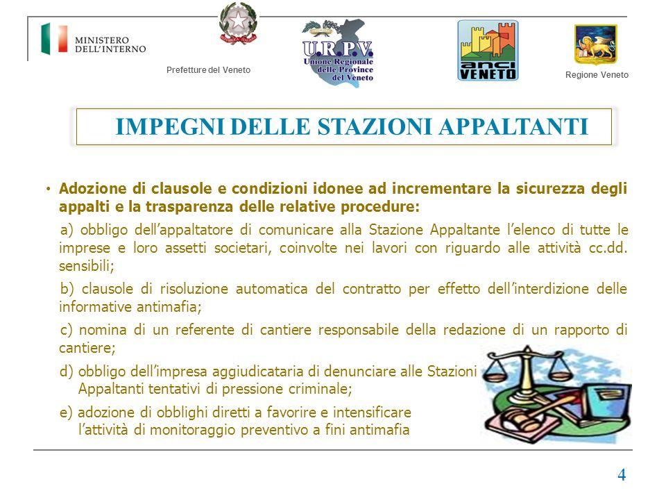 Prefetture del Veneto Regione Veneto IMPEGNI DELLE STAZIONI APPALTANTI Adozione di clausole e condizioni idonee ad incrementare la sicurezza degli app