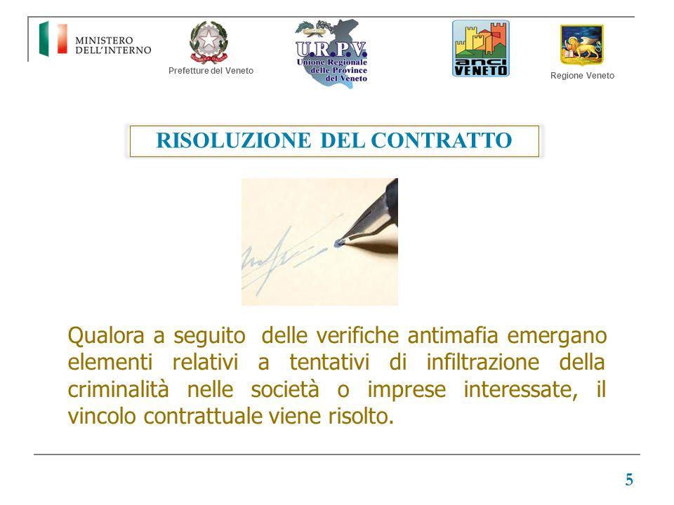 Prefetture del Veneto Regione Veneto RISOLUZIONE DEL CONTRATTO Qualora a seguito delle verifiche antimafia emergano elementi relativi a tentativi di i