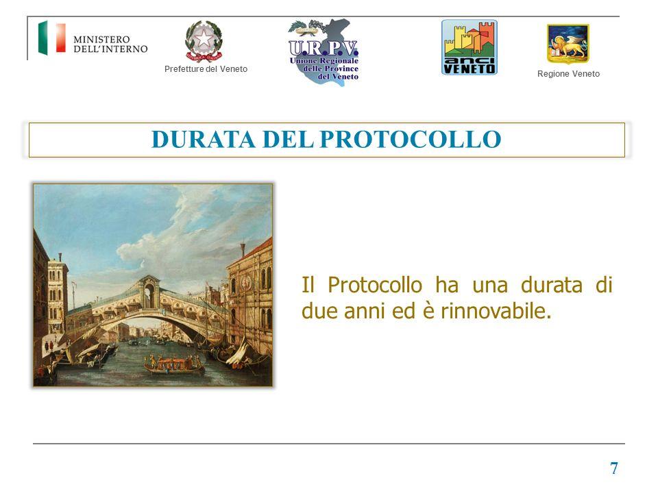 Prefetture del Veneto Regione Veneto DURATA DEL PROTOCOLLO Il Protocollo ha una durata di due anni ed è rinnovabile. 7
