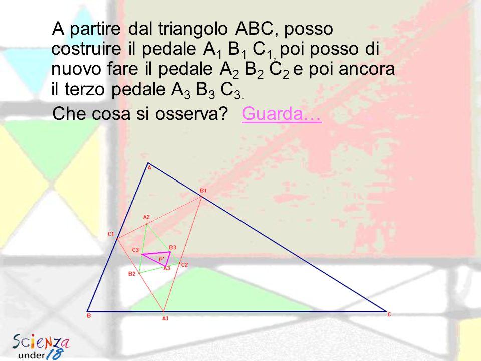 Triangolo pedale Il triangolo pedale, di un punto P rispetto a un triangolo qualsiasi ABC, è il triangolo avente per vertici le proiezioni ortogonali di P sui lati.
