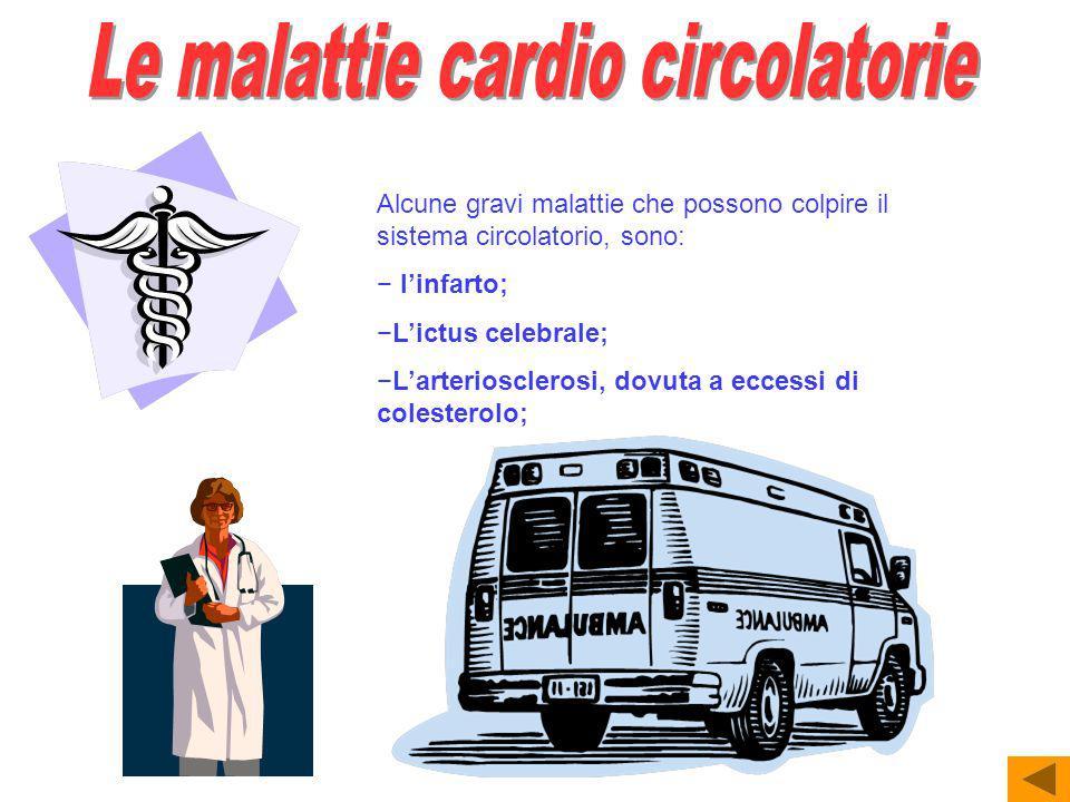 Alcune gravi malattie che possono colpire il sistema circolatorio, sono: linfarto; Lictus celebrale; Larteriosclerosi, dovuta a eccessi di colesterolo