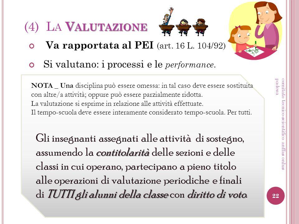 V ALUTAZIONE (4) L A V ALUTAZIONE Va rapportata al PEI (art. 16 L. 104/92) contitolarità TUTTI gli alunni della classe diritto di voto Gli insegnanti