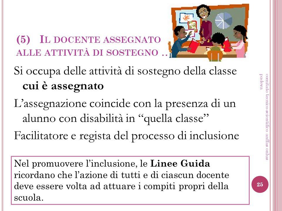 (5) I L DOCENTE ASSEGNATO ALLE ATTIVITÀ DI SOSTEGNO … Si occupa delle attività di sostegno della classe cui è assegnato Lassegnazione coincide con la