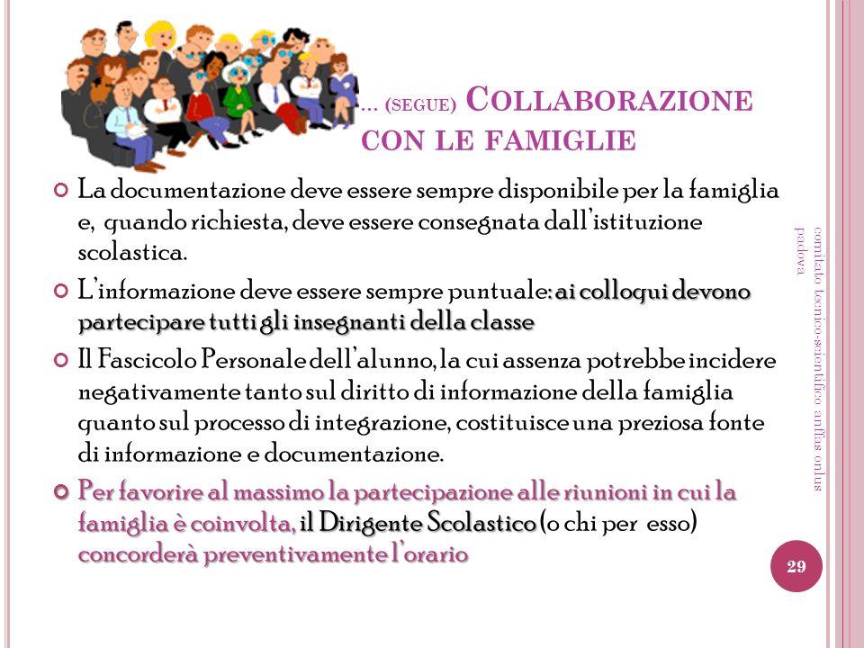 … ( SEGUE ) C OLLABORAZIONE CON LE FAMIGLIE La documentazione deve essere sempre disponibile per la famiglia e, quando richiesta, deve essere consegna