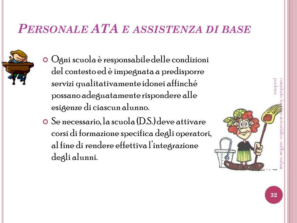 P ERSONALE ATA E ASSISTENZA DI BASE Ogni scuola è responsabile delle condizioni del contesto ed è impegnata a predisporre servizi qualitativamente ido