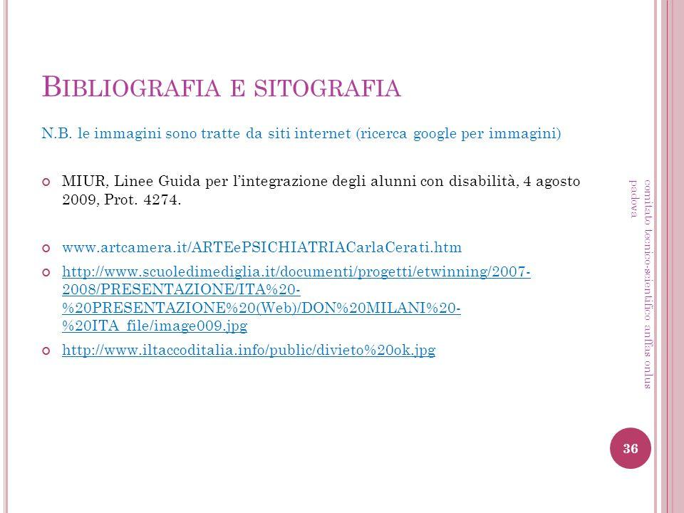 B IBLIOGRAFIA E SITOGRAFIA N.B. le immagini sono tratte da siti internet (ricerca google per immagini) MIUR, Linee Guida per lintegrazione degli alunn