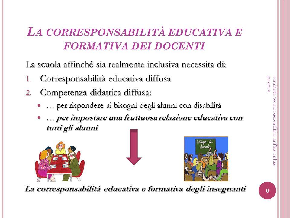 L A CORRESPONSABILITÀ EDUCATIVA E FORMATIVA DEI DOCENTI La scuola affinché sia realmente inclusiva necessita di: 1. Corresponsabilità educativa diffus