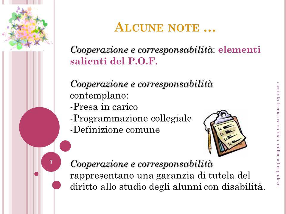 A LCUNE NOTE … Cooperazione e corresponsabilità Cooperazione e corresponsabilità : elementi salienti del P.O.F. Cooperazione e corresponsabilità Coope