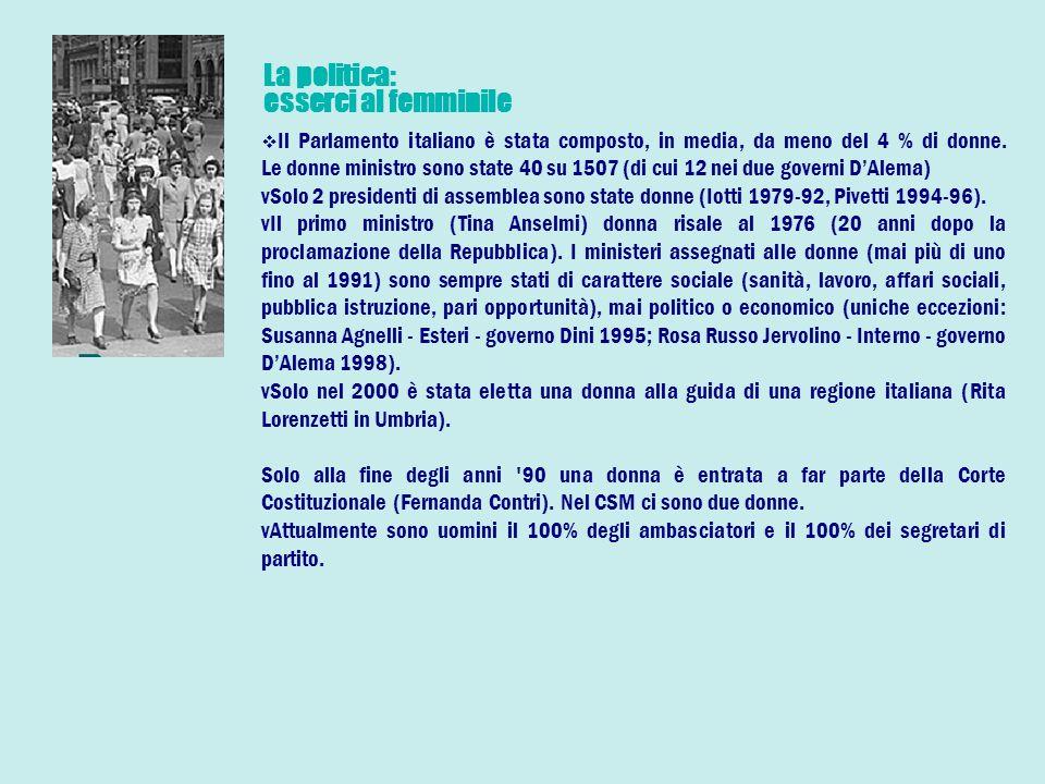 La politica: esserci al femminile Il Parlamento italiano è stata composto, in media, da meno del 4 % di donne.