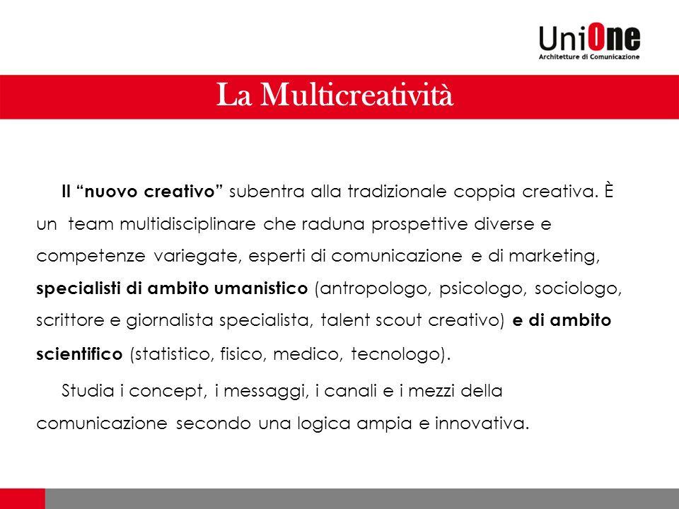 La Multicreatività Il nuovo creativo subentra alla tradizionale coppia creativa. È un team multidisciplinare che raduna prospettive diverse e competen