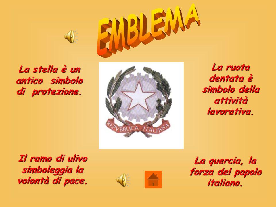 La stella è un antico simbolo di protezione. La ruota dentata è simbolo della attività lavorativa. Il ramo di ulivo simboleggia la volontà di pace. La