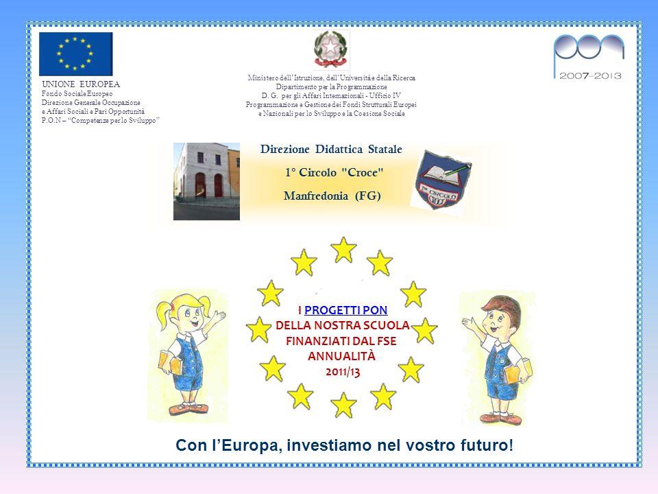UNIONE EUROPEA Fondo Sociale Europeo Direzione Generale Occupazione e Affari Sociali e Pari Opportunità P.O.N – Competenze per lo Sviluppo Ministero d