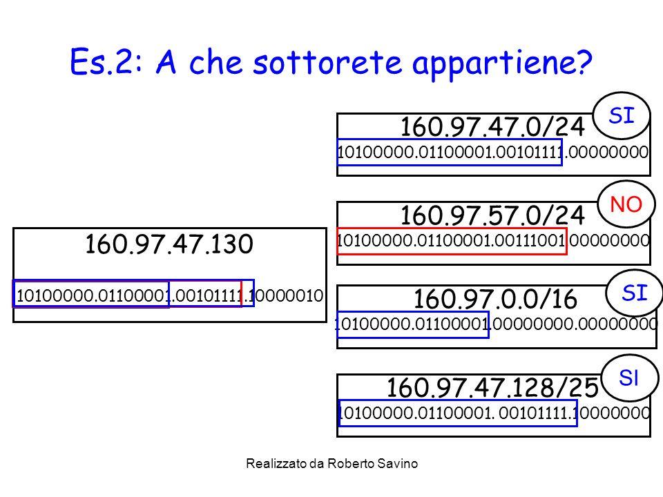 Realizzato da Roberto Savino Es.2: A che sottorete appartiene? 160.97.47.0/24 10100000.01100001.00101111.00000000 160.97.47.130 10100000.01100001.0010