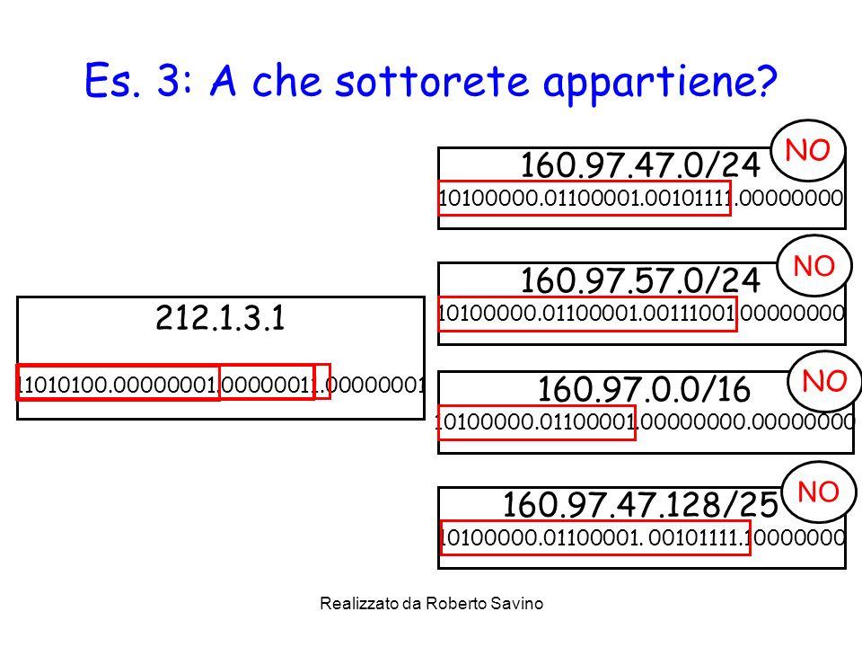 Realizzato da Roberto Savino Es. 3: A che sottorete appartiene? 160.97.47.0/24 10100000.01100001.00101111.00000000 212.1.3.1 11010100.00000001.0000001