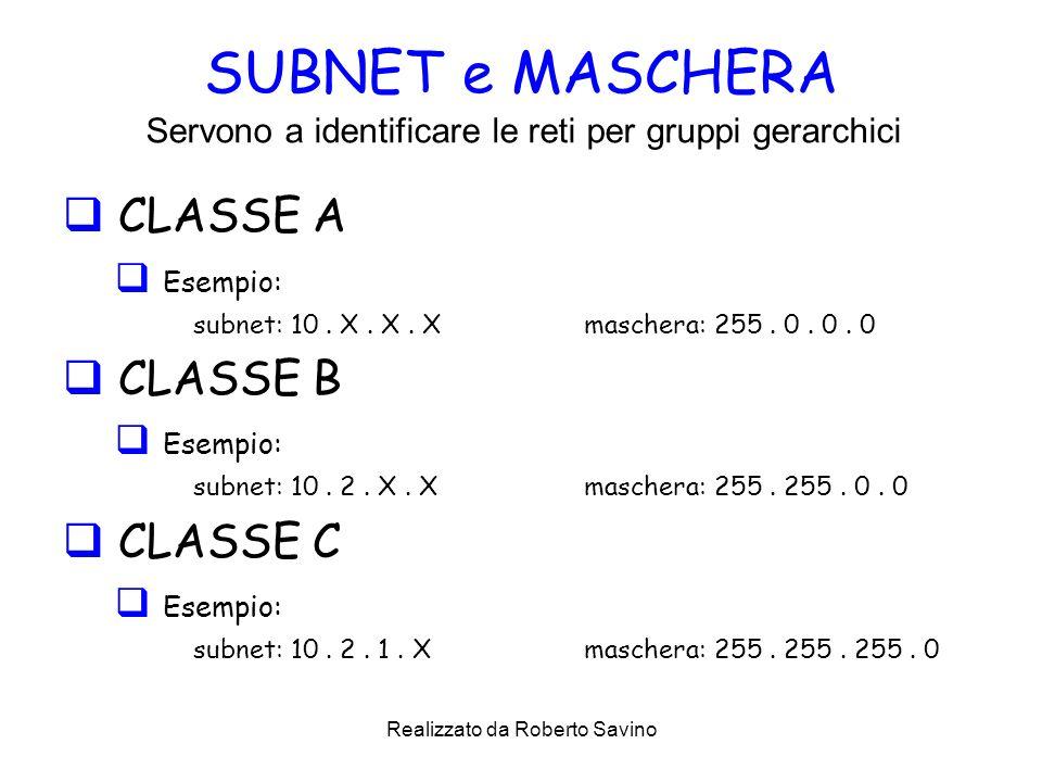 Realizzato da Roberto Savino SUBNET e MASCHERA CLASSE A Esempio: subnet: 10.