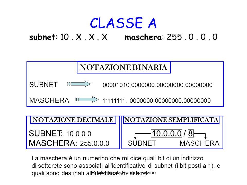 Realizzato da Roberto Savino CLASSE A subnet: 10. X. X. X maschera: 255. 0. 0. 0 SUBNET 00001010.0000000.00000000.00000000 MASCHERA 11111111. 0000000.