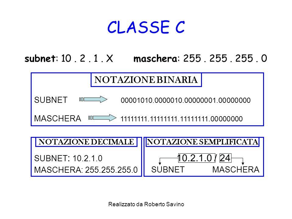 Realizzato da Roberto Savino CLASSE C subnet: 10. 2. 1. X maschera: 255. 255. 255. 0 SUBNET 00001010.0000010.00000001.00000000 MASCHERA 11111111.11111