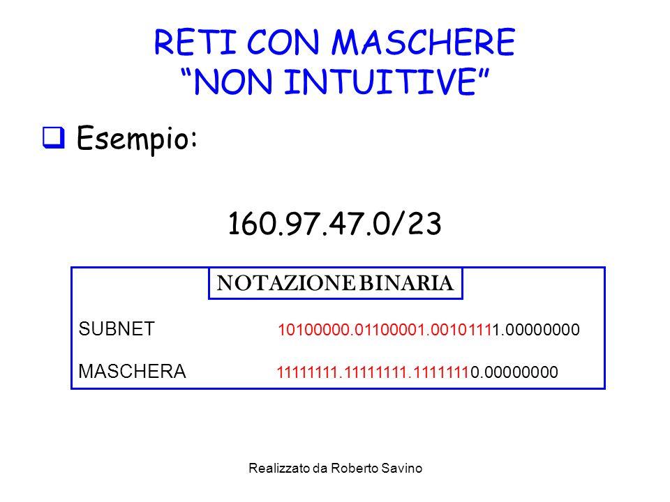 Realizzato da Roberto Savino RETI CON MASCHERE NON INTUITIVE Esempio: 160.97.47.0/23 SUBNET 10100000.01100001.00101111.00000000 MASCHERA 11111111.11111111.11111110.00000000 NOTAZIONE BINARIA