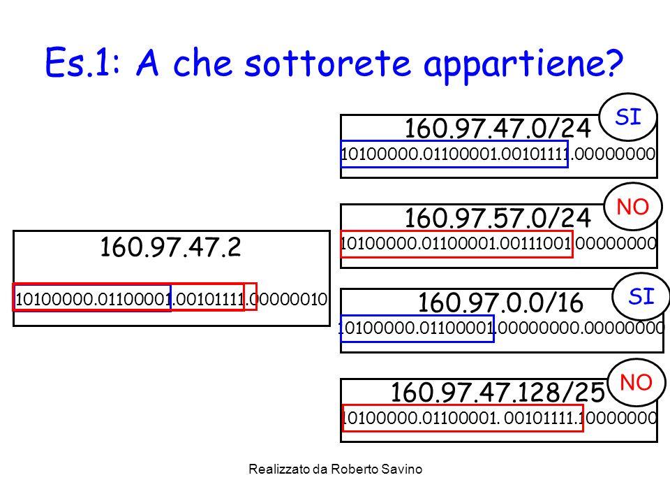Realizzato da Roberto Savino Es.1: A che sottorete appartiene? 160.97.47.0/24 10100000.01100001.00101111.00000000 160.97.47.2 10100000.01100001.001011