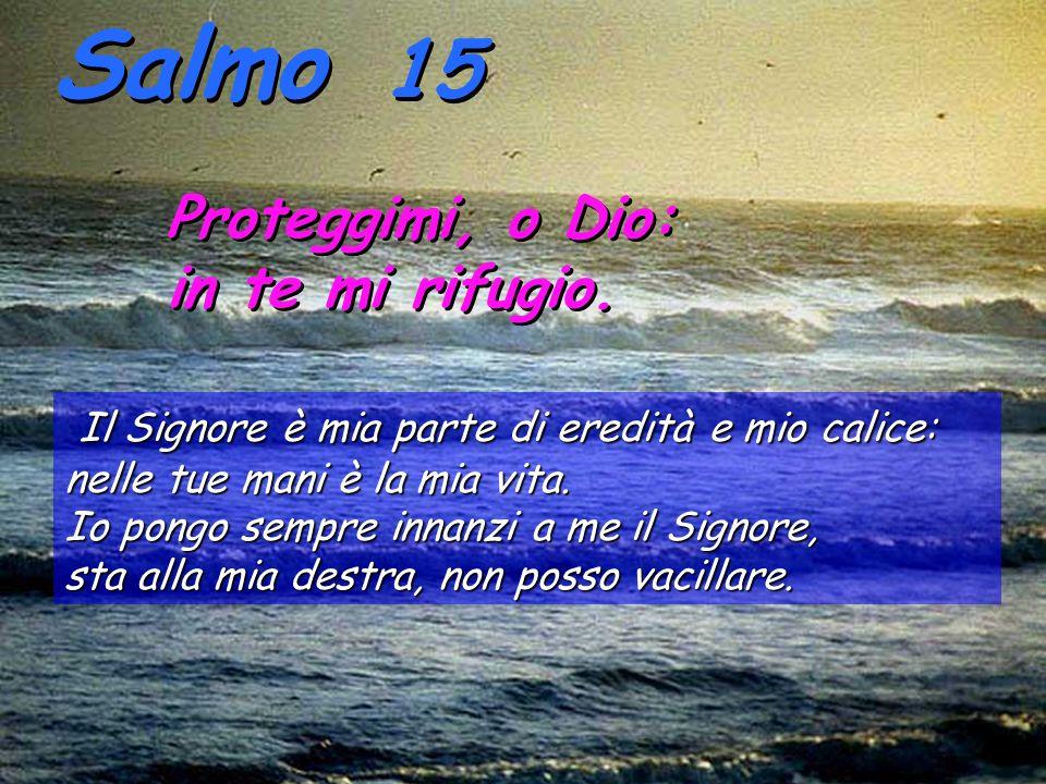 Salmo 15 Proteggimi, o Dio: in te mi rifugio.Proteggimi, o Dio: in te mi rifugio.