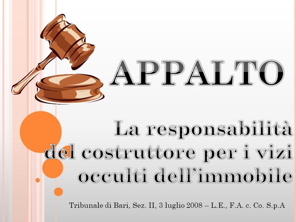Tribunale di Bari, Sez. II, 3 luglio 2008 – L.E., F.A. c. Co. S.p.A
