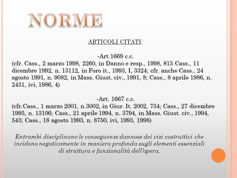 ARTICOLI CITATI: -Art.1669 c.c. (cfr. Cass., 2 marzo 1998, 2260, in Danno e resp., 1998, 815 Cass., 11 dicembre 1992, n. 13112, in Foro it., 1993, I,