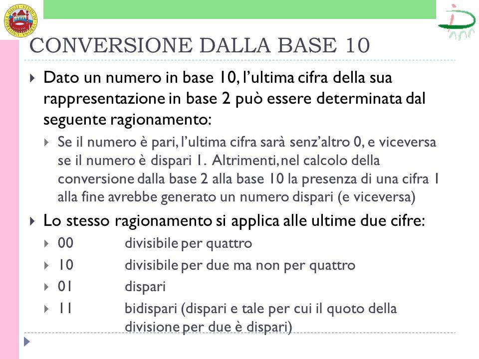CONVERSIONE DALLA BASE 10 Dato un numero in base 10, lultima cifra della sua rappresentazione in base 2 può essere determinata dal seguente ragionamen