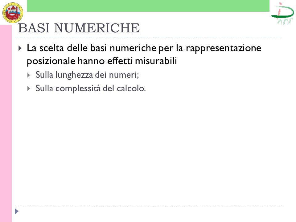 BASI NUMERICHE La scelta delle basi numeriche per la rappresentazione posizionale hanno effetti misurabili Sulla lunghezza dei numeri; Sulla complessi