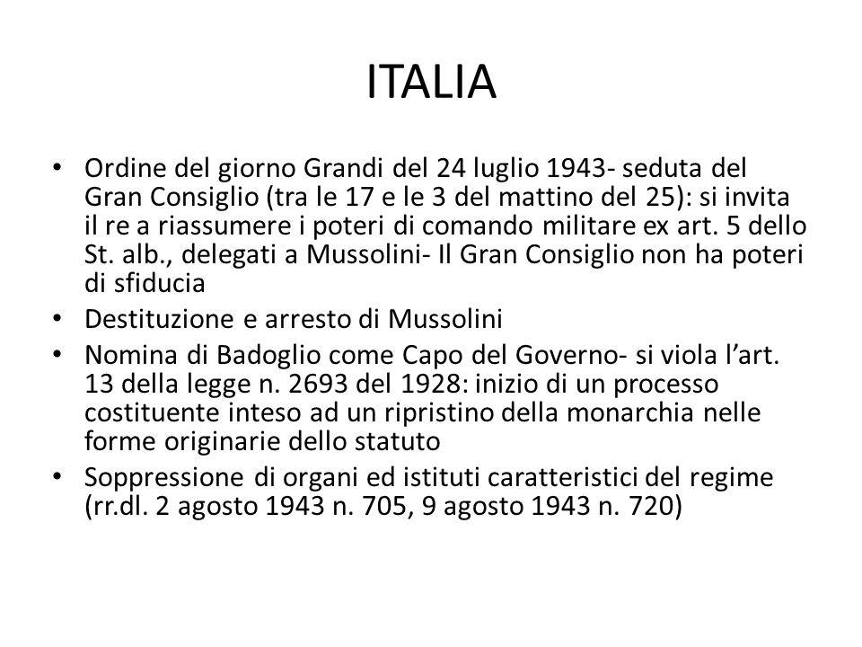 ITALIA Ordine del giorno Grandi del 24 luglio 1943- seduta del Gran Consiglio (tra le 17 e le 3 del mattino del 25): si invita il re a riassumere i po