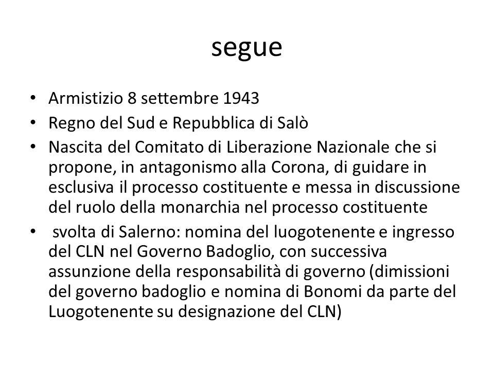 segue Armistizio 8 settembre 1943 Regno del Sud e Repubblica di Salò Nascita del Comitato di Liberazione Nazionale che si propone, in antagonismo alla