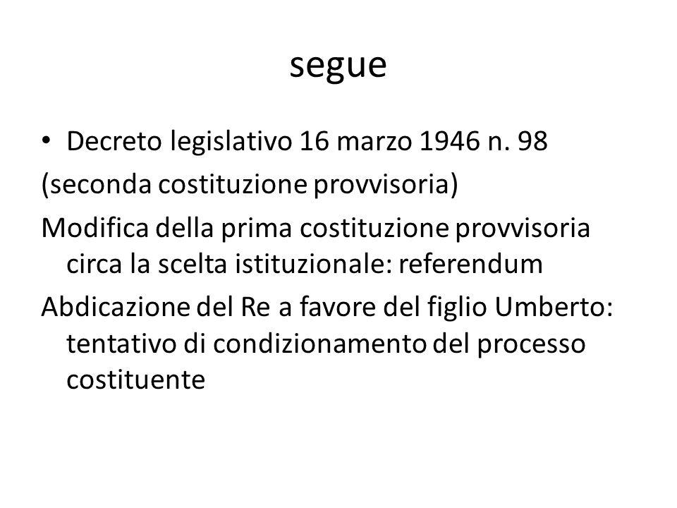 segue Decreto legislativo 16 marzo 1946 n. 98 (seconda costituzione provvisoria) Modifica della prima costituzione provvisoria circa la scelta istituz