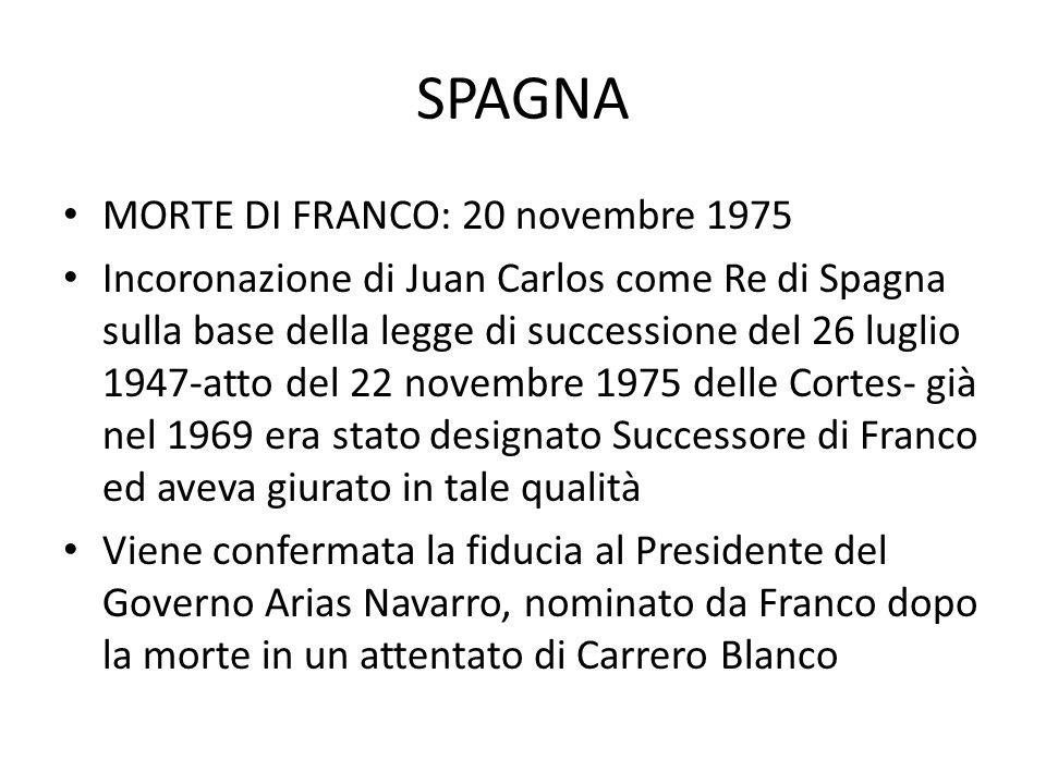 SPAGNA MORTE DI FRANCO: 20 novembre 1975 Incoronazione di Juan Carlos come Re di Spagna sulla base della legge di successione del 26 luglio 1947-atto