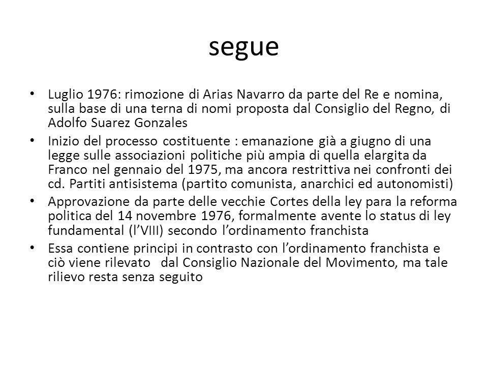 segue Luglio 1976: rimozione di Arias Navarro da parte del Re e nomina, sulla base di una terna di nomi proposta dal Consiglio del Regno, di Adolfo Su