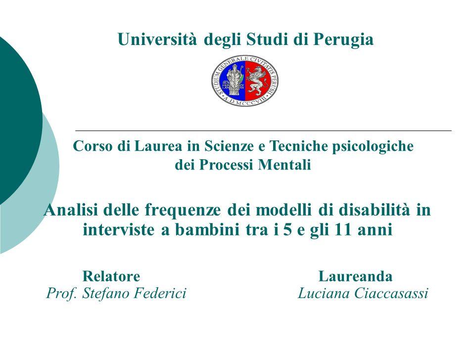 Analisi delle frequenze dei modelli di disabilità in interviste a bambini tra i 5 e gli 11 anni Relatore Laureanda Prof.