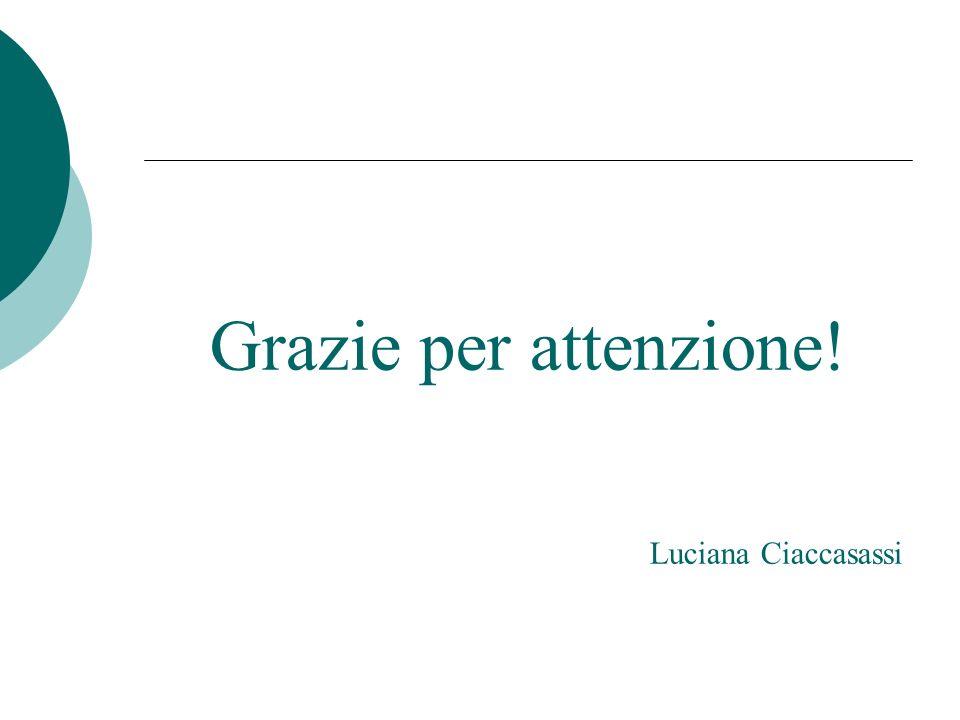 Grazie per attenzione! Luciana Ciaccasassi