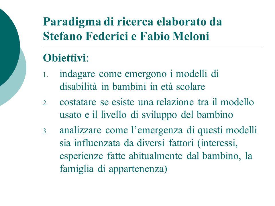 Paradigma di ricerca elaborato da Stefano Federici e Fabio Meloni Obiettivi: 1.