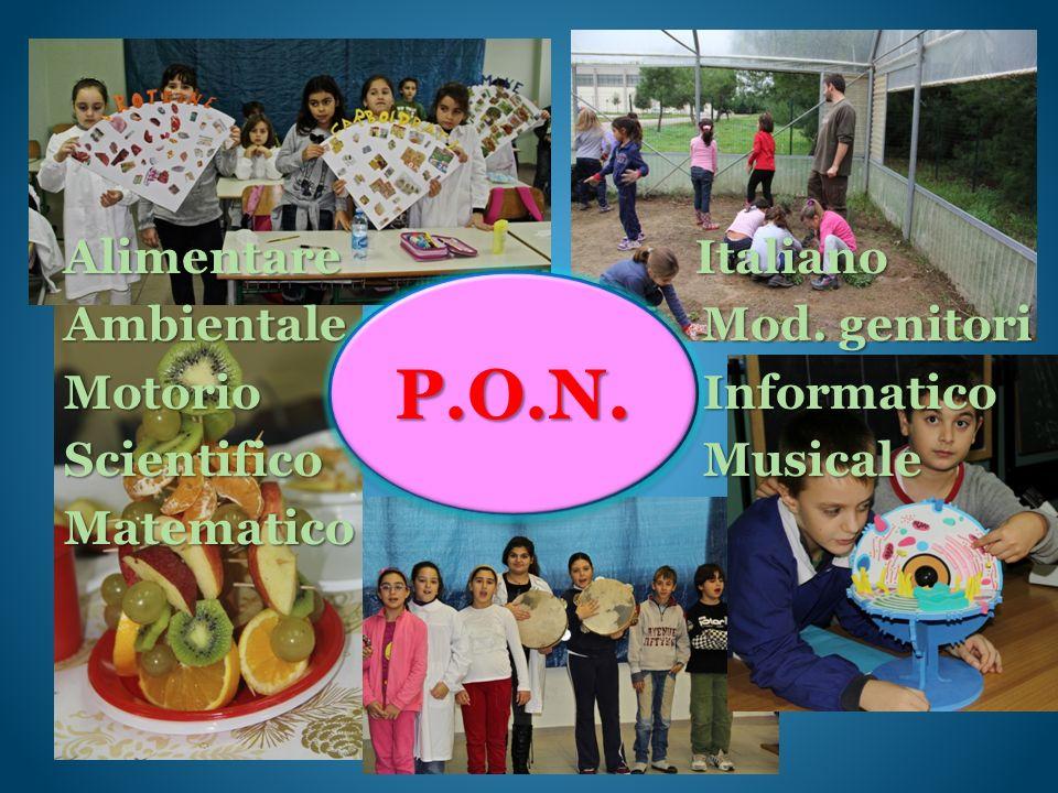 Alimentare Italiano Ambientale Mod. genitori Motorio Informatico Scientifico Musicale Matematico P.O.N.P.O.N.