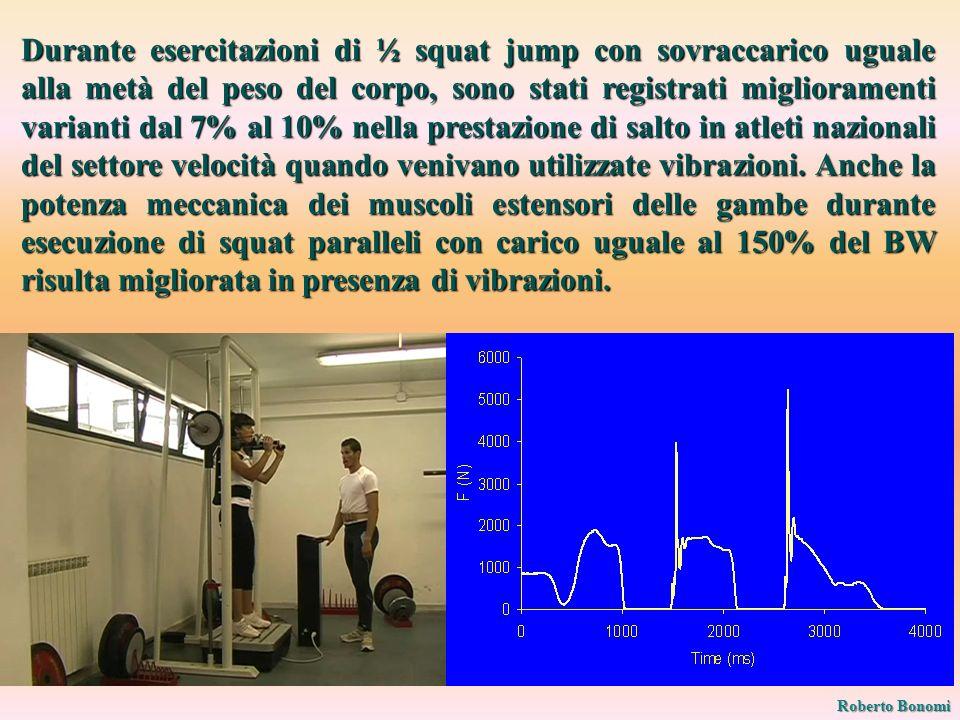Durante esercitazioni di ½ squat jump con sovraccarico uguale alla metà del peso del corpo, sono stati registrati miglioramenti varianti dal 7% al 10% nella prestazione di salto in atleti nazionali del settore velocità quando venivano utilizzate vibrazioni.