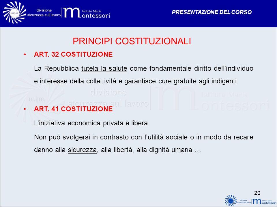 PRESENTAZIONE DEL CORSO 20 PRINCIPI COSTITUZIONALI ART. 32 COSTITUZIONE La Repubblica tutela la salute come fondamentale diritto dellindividuo e inter