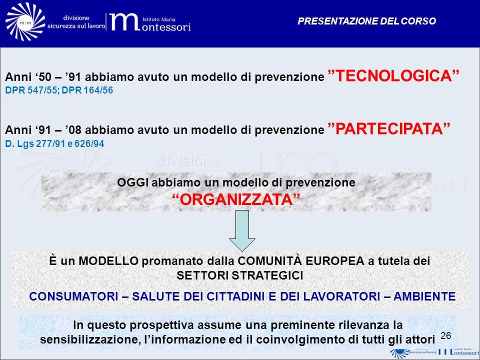 PRESENTAZIONE DEL CORSO Anni 50 – 91 abbiamo avuto un modello di prevenzione TECNOLOGICA DPR 547/55; DPR 164/56 Anni 91 – 08 abbiamo avuto un modello