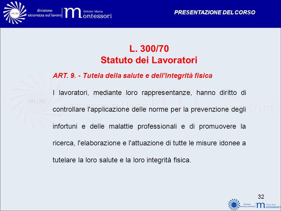PRESENTAZIONE DEL CORSO 32 L. 300/70 Statuto dei Lavoratori ART. 9. - Tutela della salute e dell'integrità fisica I lavoratori, mediante loro rapprese