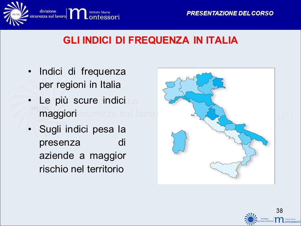 PRESENTAZIONE DEL CORSO GLI INDICI DI FREQUENZA IN ITALIA Indici di frequenza per regioni in Italia Le più scure indici maggiori Sugli indici pesa la