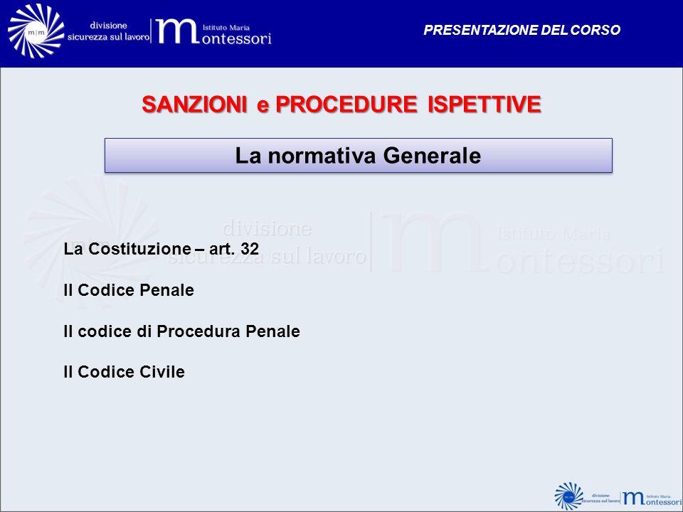 SANZIONI e PROCEDURE ISPETTIVE La normativa Generale La Costituzione – art. 32 Il Codice Penale Il codice di Procedura Penale Il Codice Civile PRESENT