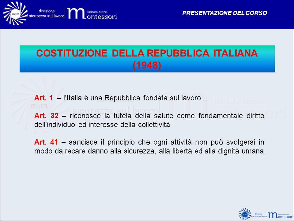 COSTITUZIONE DELLA REPUBBLICA ITALIANA (1948) Art. 1 – lItalia è una Repubblica fondata sul lavoro… Art. 32 – riconosce la tutela della salute come fo