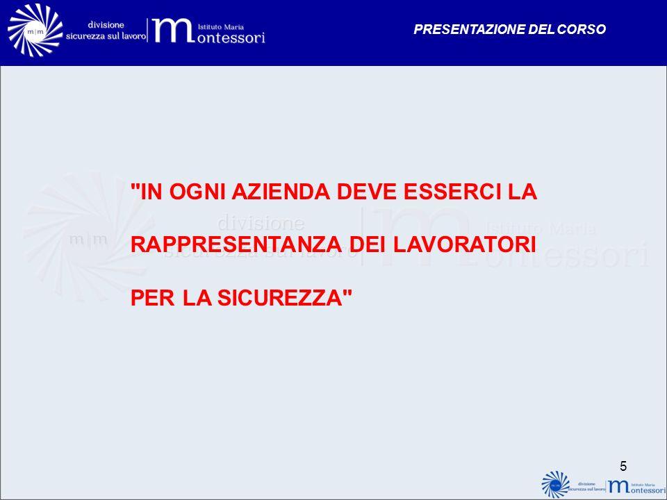 PRESENTAZIONE DEL CORSO 6 CHI È IL RAPPRESENTANTE DEI LAVORATORI PER LA SICUREZZA .