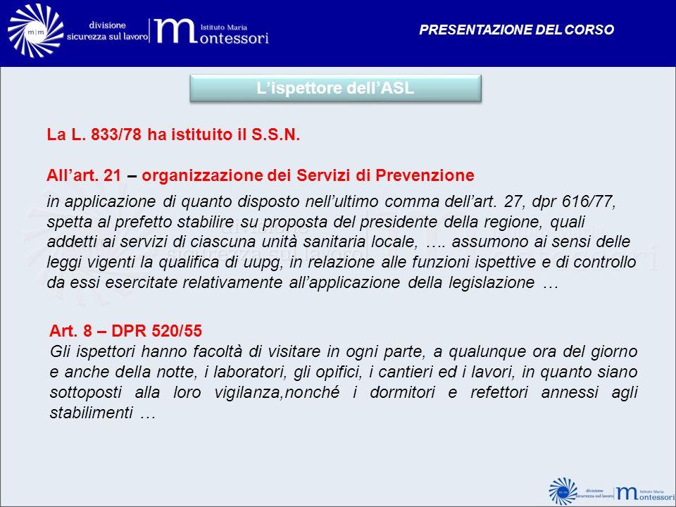 Lispettore dellASL La L. 833/78 ha istituito il S.S.N. Allart. 21 – organizzazione dei Servizi di Prevenzione in applicazione di quanto disposto nellu