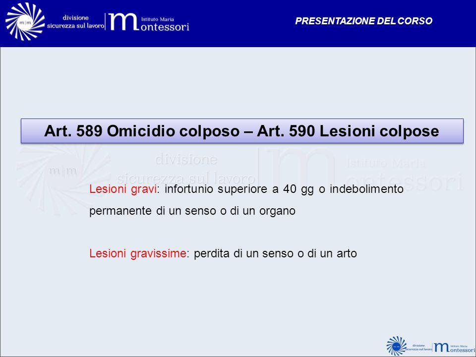 Art. 589 Omicidio colposo – Art. 590 Lesioni colpose Lesioni gravi: infortunio superiore a 40 gg o indebolimento permanente di un senso o di un organo