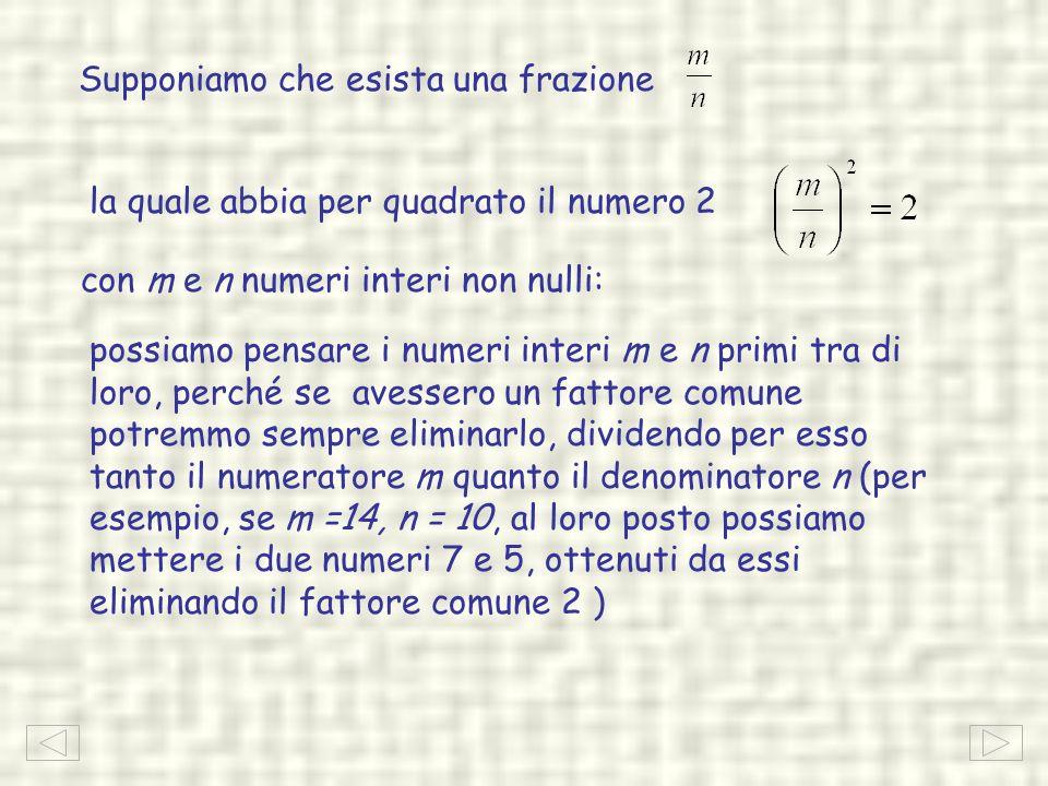 la quale abbia per quadrato il numero 2 con m e n numeri interi non nulli: possiamo pensare i numeri interi m e n primi tra di loro, perché se avesser