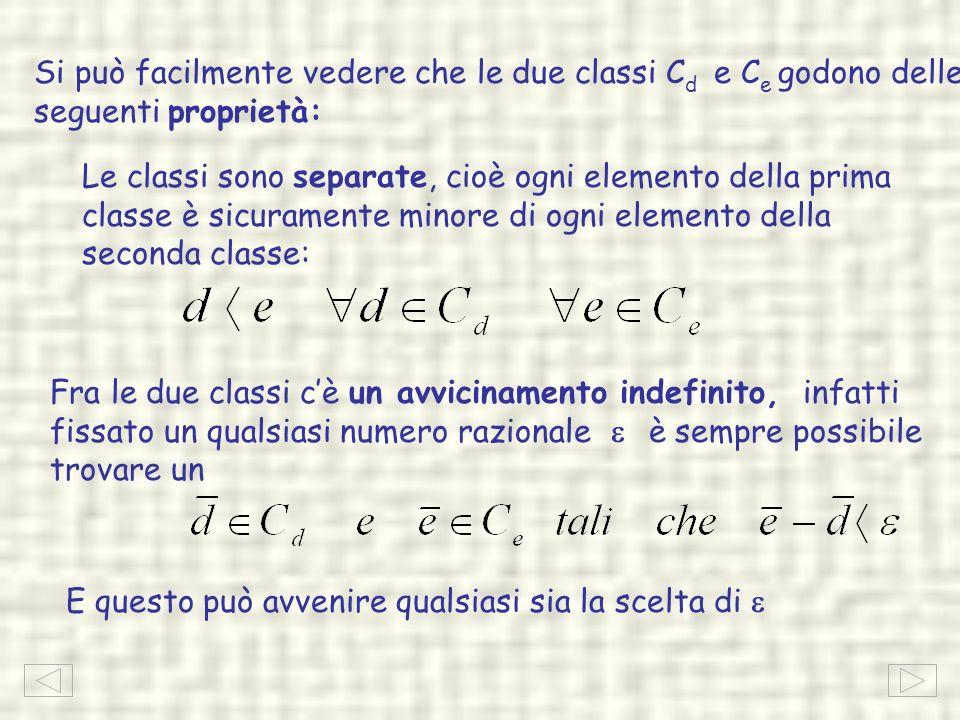 Si può facilmente vedere che le due classi C d e C e godono delle seguenti proprietà: Le classi sono separate, cioè ogni elemento della prima classe è